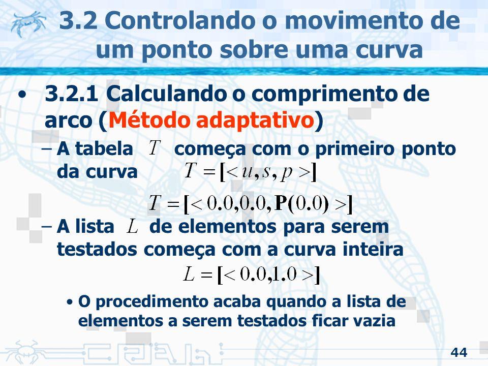 45 3.2 Controlando o movimento de um ponto sobre uma curva 3.2.1 Calculando o comprimento de arco (Método adaptativo) –Testa-se sempre o primeiro elemento da lista Se o elemento passar pela tolerância –É adicionado em as duas metades »Do início ao meio, onde o seu foi conseguido fazendo a soma do com a aproximação do ponto inicial ao ponto do meio »Meio ao final onde o seu foi conseguido semelhante ao caso anterior