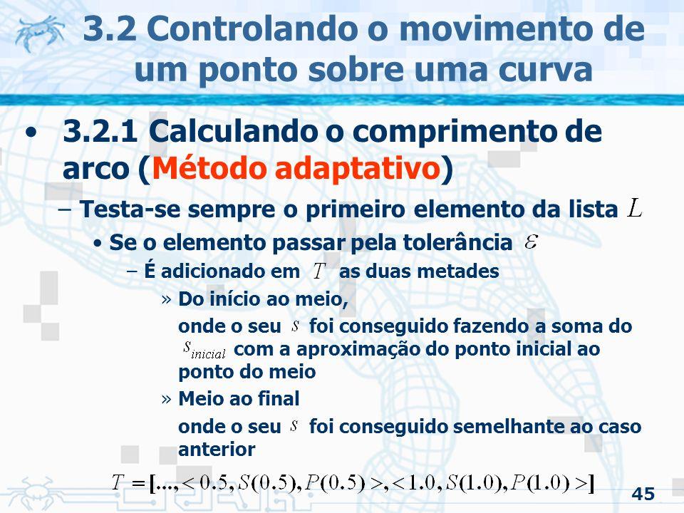 46 3.2 Controlando o movimento de um ponto sobre uma curva 3.2.1 Calculando o comprimento de arco (Método adaptativo) –Testa-se sempre o primeiro elemento da lista Se esse elemento não passar –As duas metades são adicionadas em –A cada nível da subdivisão a tolerância também é dividida ao meio