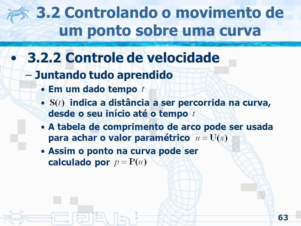 64 3.2 Controlando o movimento de um ponto sobre uma curva 3.2.2 Controle de velocidade –Juntando tudo aprendido O que nos leva