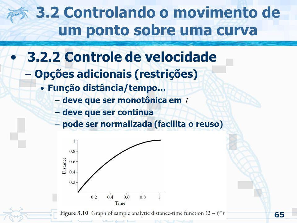 66 3.2 Controlando o movimento de um ponto sobre uma curva 3.2.3 Ease-in/Ease-out –Definição: Movimento que começa e termina parado Não existe 'pulo' na velocidade –Continuidade de primeira ordem Pode ou não ter velocidade constante no meio A função será referida como – varia uniformemente