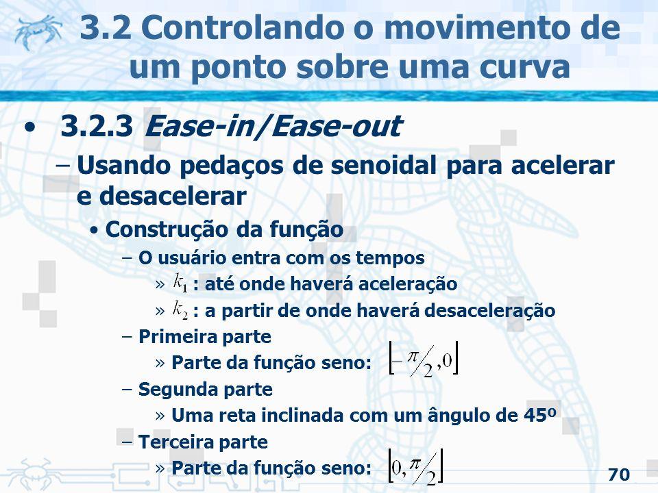 71 3.2 Controlando o movimento de um ponto sobre uma curva