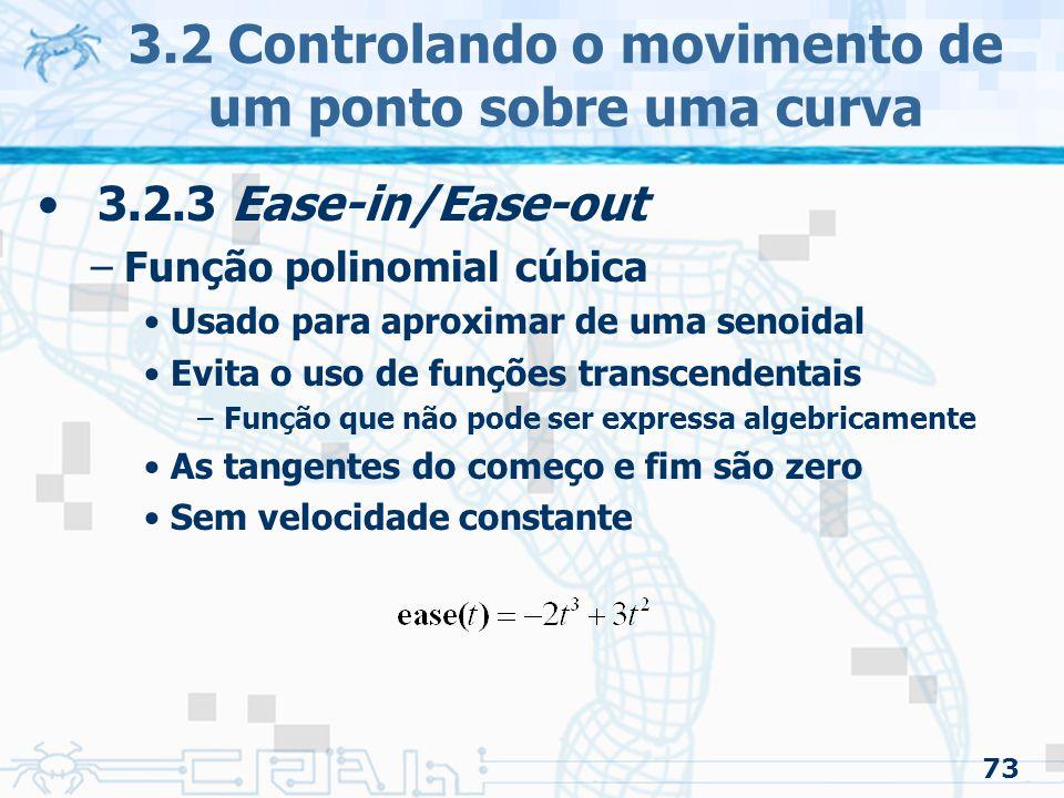 74 3.2 Controlando o movimento de um ponto sobre uma curva