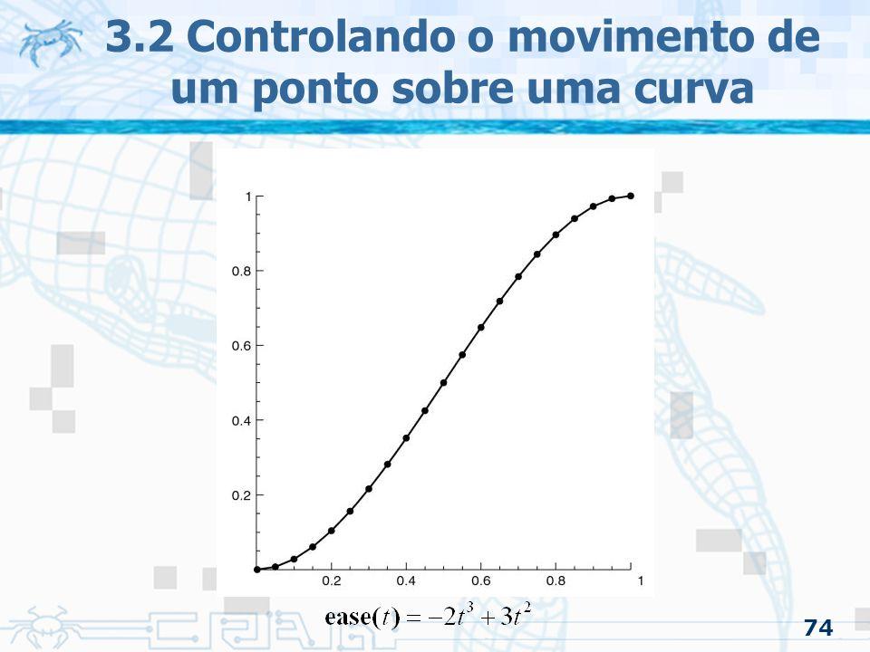 75 3.2 Controlando o movimento de um ponto sobre uma curva 3.2.3 Ease-in/Ease-out –Aceleração constante: Ease-in/Ease-out parabólico Evita o uso de funções transcendentais Pode ter velocidade constante Método –É feita uma suposição da aceleração, assim estabelece uma forma básica da curva velocidade/tempo –O usuário entra com alguns parâmetros para especificar a curva velocidade/tempo –A função distância/tempo é resultado da integração dessa curva