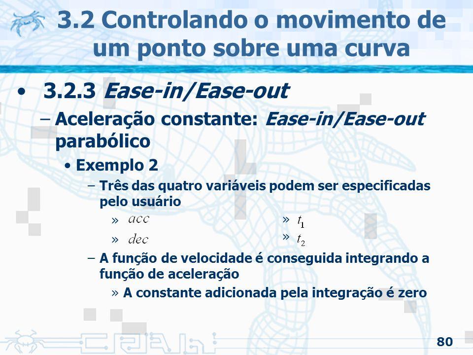 81 3.2 Controlando o movimento de um ponto sobre uma curva
