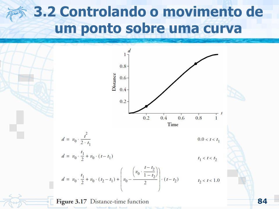 85 3.2.3 Ease-in/Ease-out –Conclusão O método usando a função seno é mais simples As funções aceleração/tempo e velocidade/tempo têm mais flexibilidade 3.2 Controlando o movimento de um ponto sobre uma curva