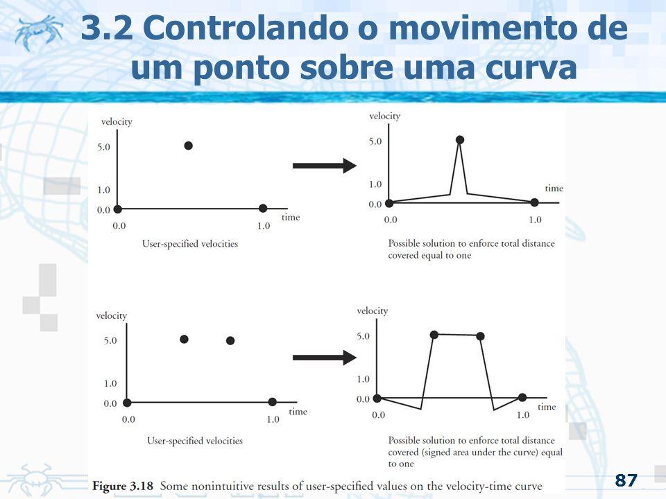 88 3.2.4 Funções gerais de distância/tempo –Pode-se trabalhar diretamente com a curva distância/tempo Começa no (0,0) Termina no (1,1) Tem que ser monotonicamente crescente Se for começar e terminar com velocidade zero –O declive da função no começo e fim deve ser zero Se não for parar no meio do caminho –Não pode ter declive zero no meio da função 3.2 Controlando o movimento de um ponto sobre uma curva