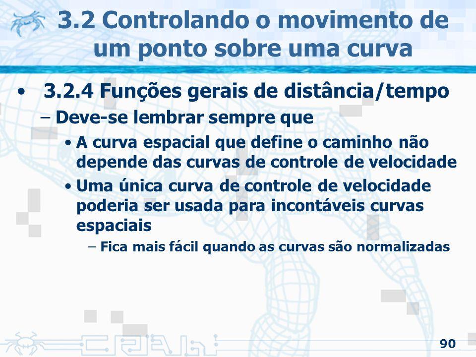 91 3.2.4 Funções gerais de distância/tempo –Definindo formalmente um problema Um movimento é especificado como uma sequência de restrições –Tempo –Posição –Velocidade –Aceleração Assim cada ponto é uma n-upla 3.2 Controlando o movimento de um ponto sobre uma curva