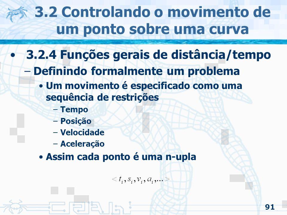 92 3.2.4 Funções gerais de distância/tempo –Definindo formalmente um problema Um problema de restrição de ordem zero é aquele que satisfaz o conjunto de duplas –Velocidade, aceleração e outras restrições são qualquer valor necessário para satisfazer a dupla »Pode fazer que não tenha continuidade na velocidade Um problema de restrição de ordem um: 3.2 Controlando o movimento de um ponto sobre uma curva