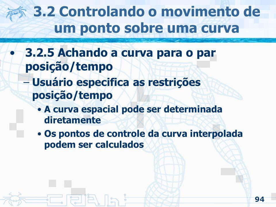 95 3.2 Controlando o movimento de um ponto sobre uma curva
