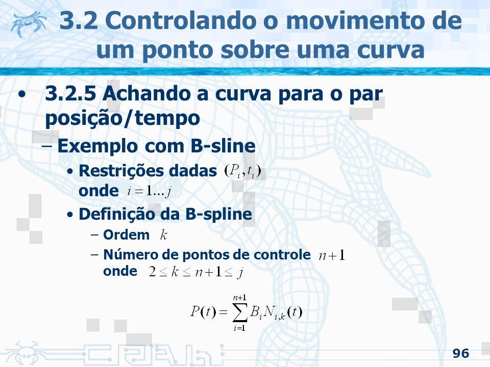 97 3.2.5 Achando a curva para o par posição/tempo –Exemplo com B-sline Definição da B-spline Matricialmente 3.2 Controlando o movimento de um ponto sobre uma curva