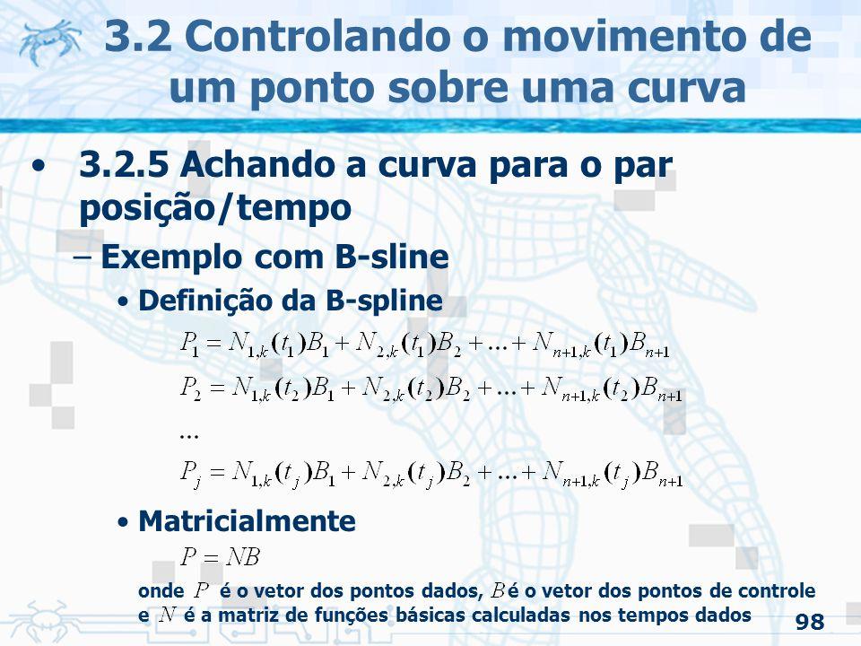 99 3.2.5 Achando a curva para o par posição/tempo –Exemplo com B-sline Definição da B-spline –Se o número de pontos dados é o mesmo de pontos de controles desconhecidos » é quadrada »Resolução 3.2 Controlando o movimento de um ponto sobre uma curva