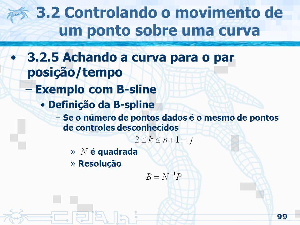 100 3.2.5 Achando a curva para o par posição/tempo –Exemplo com B-sline A curva resultante é suave –Porem pode ter ondulações indesejadas –Solução: especificar menos pontos de controle »Mas não fica quadrada »Resolução 3.2 Controlando o movimento de um ponto sobre uma curva