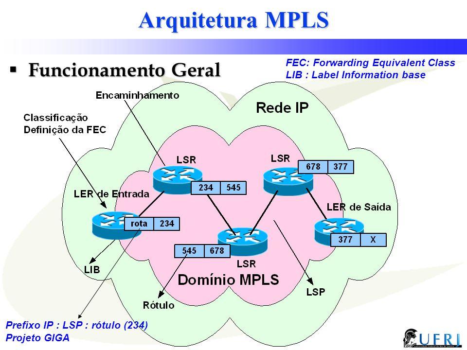 11 Projeto GIGA Arquitetura MPLS  Funcionamento Geral Prefixo IP : LSP : rótulo (234) FEC: Forwarding Equivalent Class LIB : Label Information base
