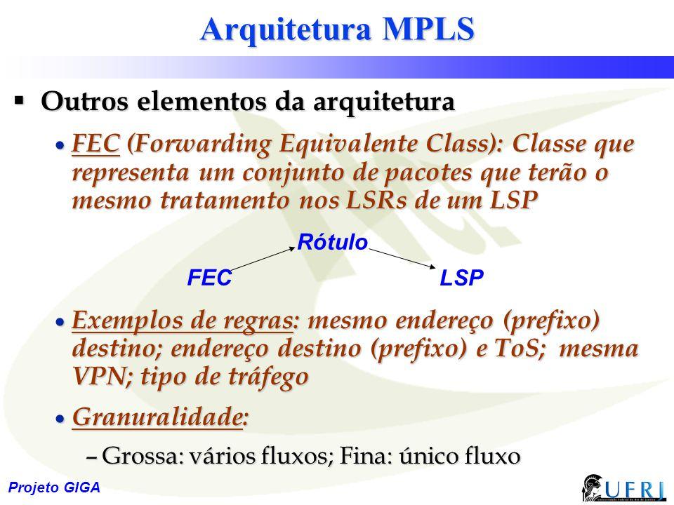 12 Projeto GIGA Arquitetura MPLS  Outros elementos da arquitetura  FEC (Forwarding Equivalente Class): Classe que representa um conjunto de pacotes