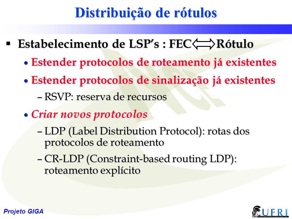 17 Projeto GIGA Distribuição de rótulos  Estabelecimento de LSP's : FEC Rótulo  Estender protocolos de roteamento já existentes  Estender protocolo