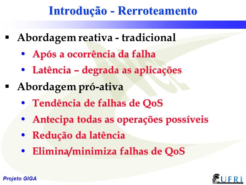 19 Projeto GIGA Introdução - Rerroteamento  Abordagem reativa - tradicional Após a ocorrência da falha Após a ocorrência da falha Latência – degrada