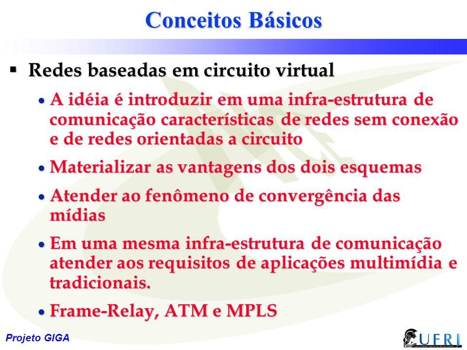 7 Projeto GIGA Conceitos Básicos  Redes baseadas em circuito virtual  A idéia é introduzir em uma infra-estrutura de comunicação características de