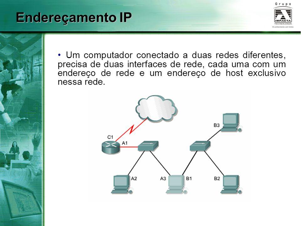 Um computador conectado a duas redes diferentes, precisa de duas interfaces de rede, cada uma com um endereço de rede e um endereço de host exclusivo