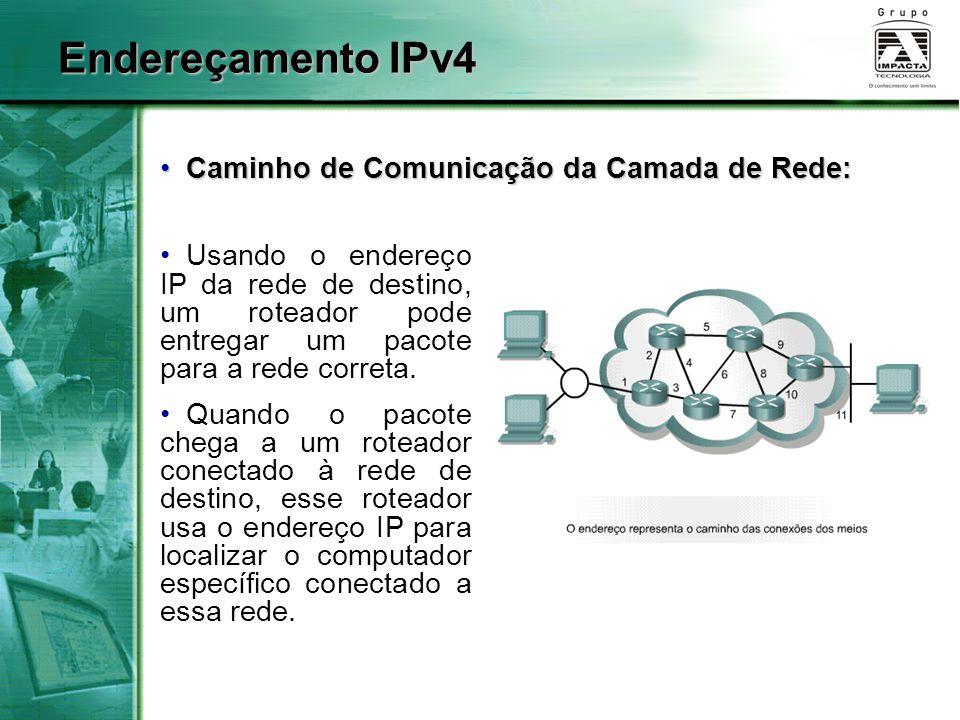 Endereçamento IPv4 Caminho de Comunicação da Camada de Rede: Caminho de Comunicação da Camada de Rede: Usando o endereço IP da rede de destino, um roteador pode entregar um pacote para a rede correta.