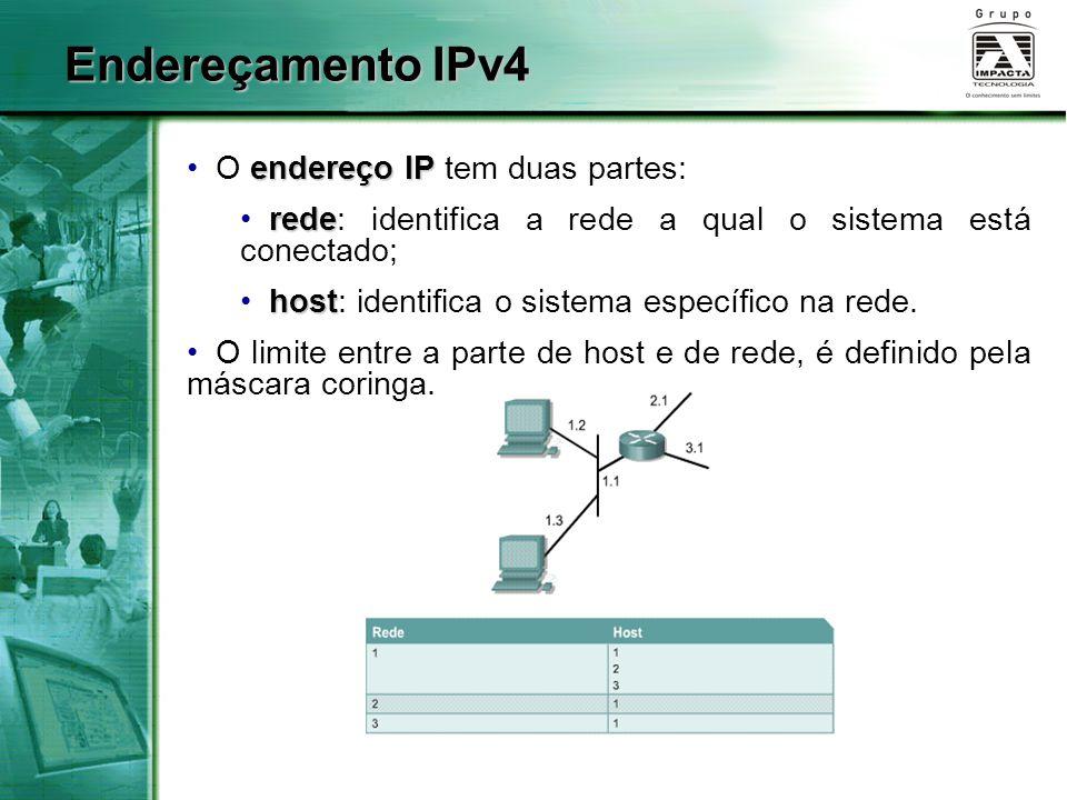endereço IP O endereço IP tem duas partes: rede rede: identifica a rede a qual o sistema está conectado; host host: identifica o sistema específico na