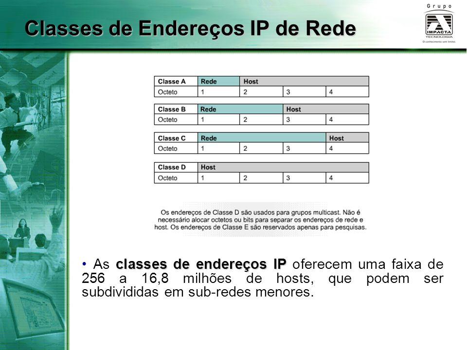 Classes de Endereços IP de Rede classes de endereços IP As classes de endereços IP oferecem uma faixa de 256 a 16,8 milhões de hosts, que podem ser subdivididas em sub-redes menores.