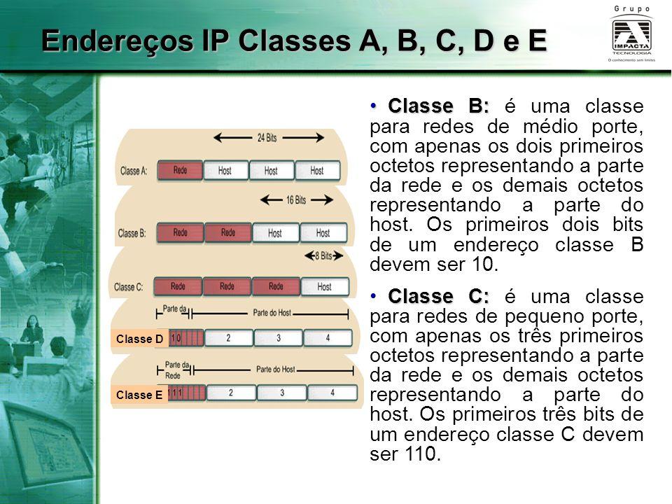 Endereços IP Classes A, B, C, D e E Classe E Classe D Classe B: Classe B: é uma classe para redes de médio porte, com apenas os dois primeiros octetos representando a parte da rede e os demais octetos representando a parte do host.