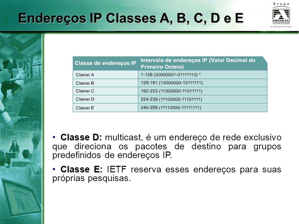 Classe D: Classe D: multicast, é um endereço de rede exclusivo que direciona os pacotes de destino para grupos predefinidos de endereços IP. Classe E: