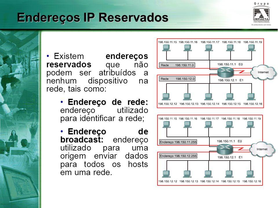 Endereços IP Reservados Existem endereços reservados que não podem ser atribuídos a nenhum dispositivo na rede, tais como: Endereço de rede: Endereço de rede: endereço utilizado para identificar a rede; Endereço de broadcast: Endereço de broadcast: endereço utilizado para uma origem enviar dados para todos os hosts em uma rede.
