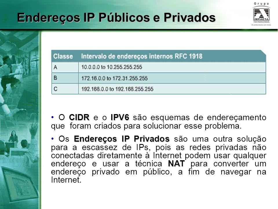 Endereços IP Públicos e Privados CIDR IPV6 O CIDR e o IPV6 são esquemas de endereçamento que foram criados para solucionar esse problema. Endereços IP
