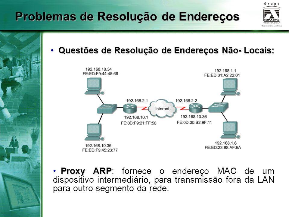 Problemas de Resolução de Endereços Questões de Resolução de Endereços Não- Locais: Questões de Resolução de Endereços Não- Locais: Proxy ARP Proxy ARP: fornece o endereço MAC de um dispositivo intermediário, para transmissão fora da LAN para outro segmento da rede.