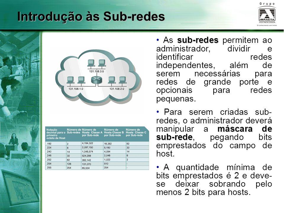 Introdução às Sub-redes sub-redes As sub-redes permitem ao administrador, dividir e identificar redes independentes, além de serem necessárias para redes de grande porte e opcionais para redes pequenas.