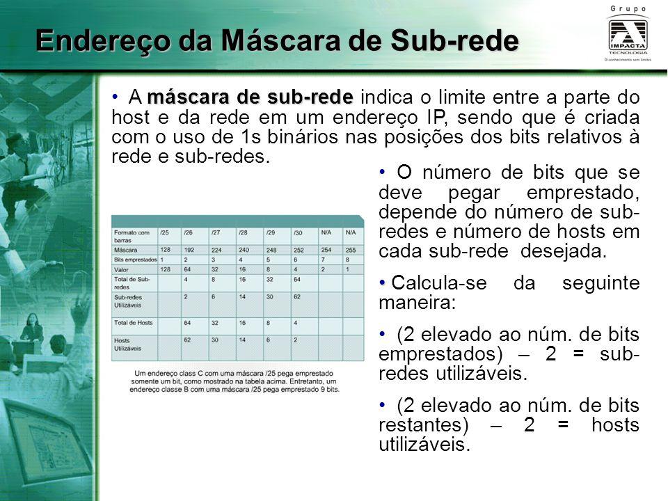 máscara de sub-rede A máscara de sub-rede indica o limite entre a parte do host e da rede em um endereço IP, sendo que é criada com o uso de 1s binários nas posições dos bits relativos à rede e sub-redes.