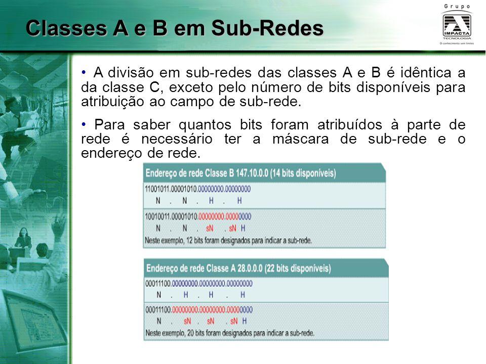 Classes A e B em Sub-Redes A divisão em sub-redes das classes A e B é idêntica a da classe C, exceto pelo número de bits disponíveis para atribuição a