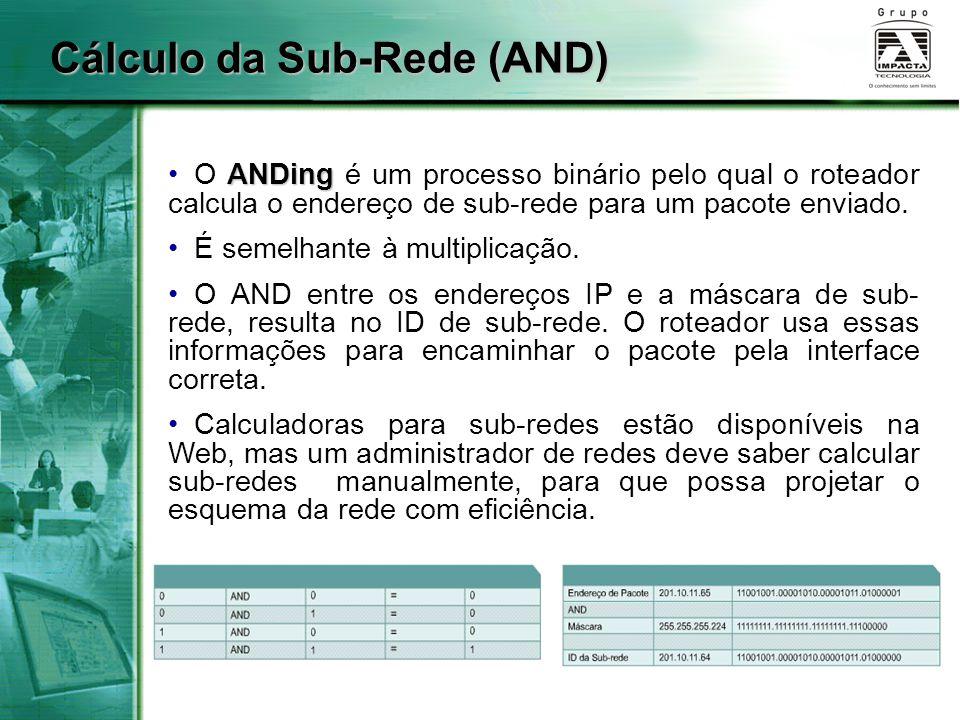 ANDing O ANDing é um processo binário pelo qual o roteador calcula o endereço de sub-rede para um pacote enviado. É semelhante à multiplicação. O AND