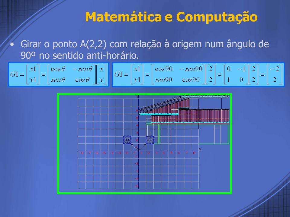 Girar: Rotacionar uma figura de θ graus (sentido anti- horário) e em torno da origem, se dá pela multiplicação matricial Em que G é a matriz chave para a modificação do ponto e é a coordenada do novo ponto.