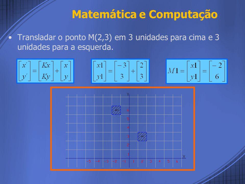 Translação: Para transladar um ponto M(x,y) – matriz coluna – de uma imagem para o ponto M´(x´,y´), basta utilizarmos uma matriz que possua elementos que movimentem a figura para direita/esquerda Kx e outro elemento que movimente para cima/baixo Ky.