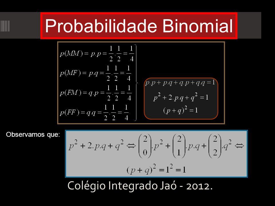 Colégio Integrado Jaó - 2012. Probabilidade Binomial Observamos que: