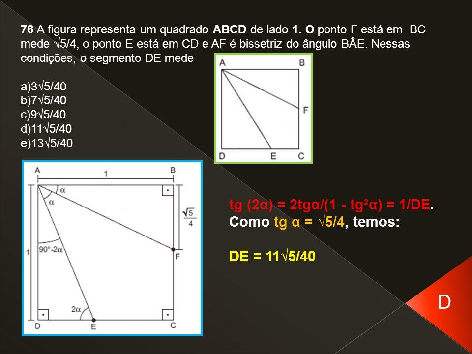 76 A figura representa um quadrado ABCD de lado 1. O ponto F está em BC mede √5/4, o ponto E está em CD e AF é bissetriz do ângulo BÂE. Nessas condiçõ