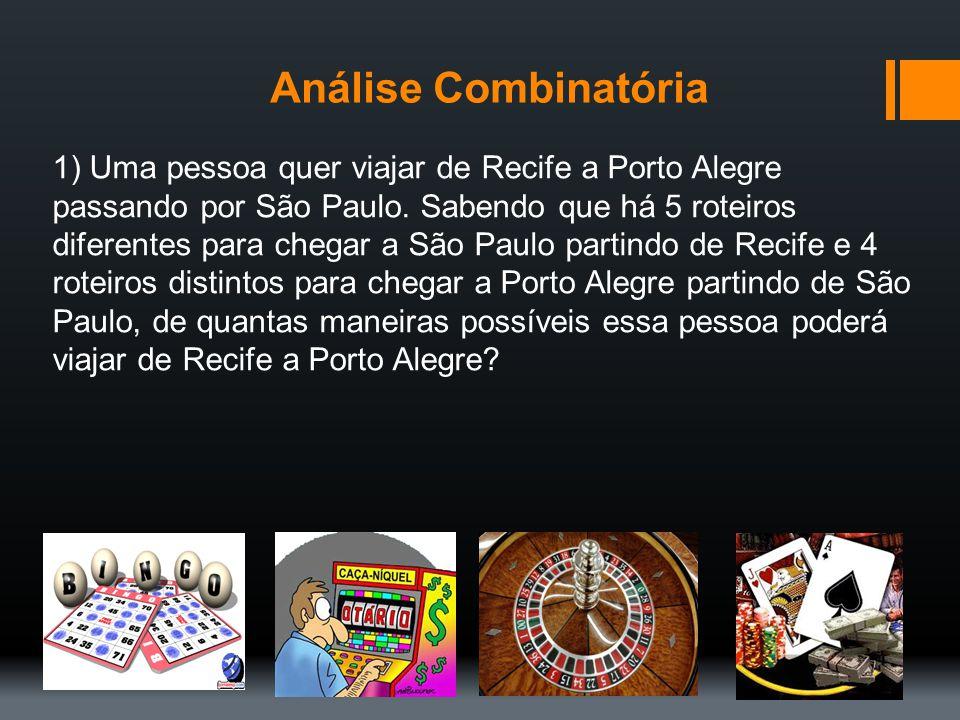 Análise Combinatória 1) Uma pessoa quer viajar de Recife a Porto Alegre passando por São Paulo. Sabendo que há 5 roteiros diferentes para chegar a São