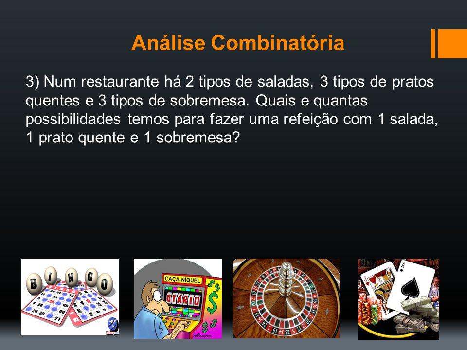 Análise Combinatória 3) Num restaurante há 2 tipos de saladas, 3 tipos de pratos quentes e 3 tipos de sobremesa. Quais e quantas possibilidades temos