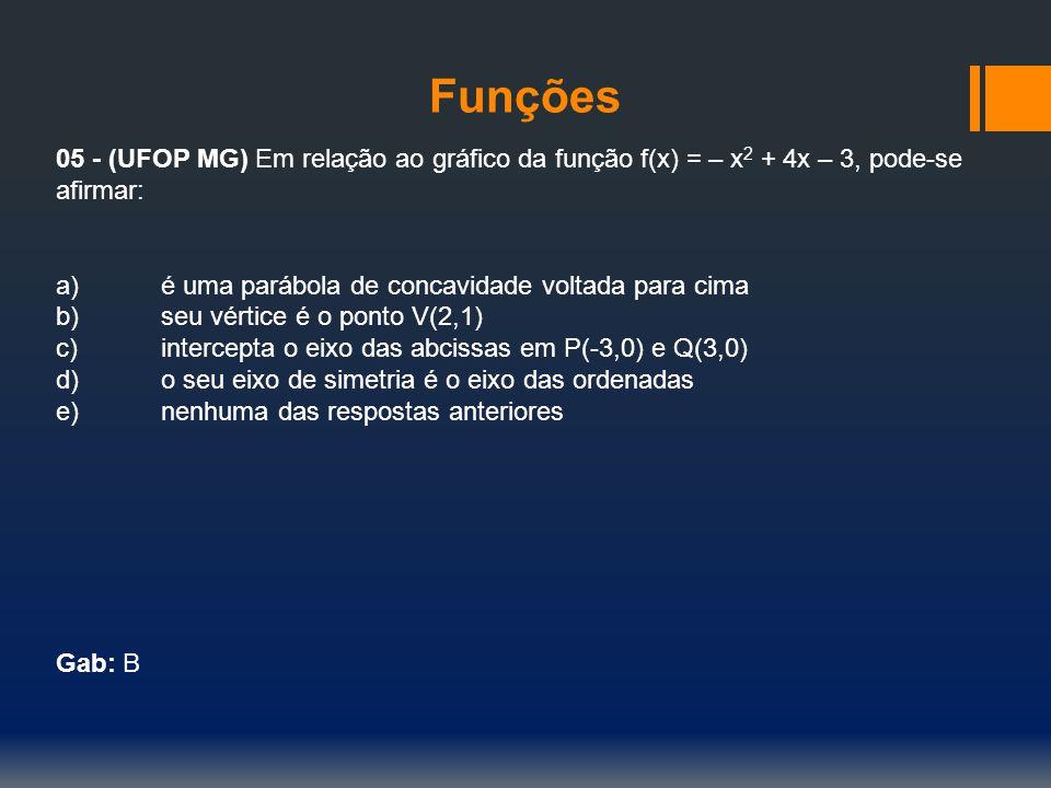 Funções 05 - (UFOP MG) Em relação ao gráfico da função f(x) = – x 2 + 4x – 3, pode-se afirmar: a)é uma parábola de concavidade voltada para cima b)seu