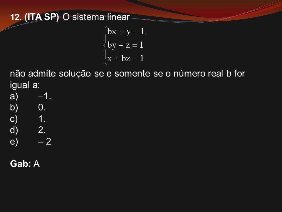 12. (ITA SP) O sistema linear não admite solução se e somente se o número real b for igual a: a)  1. b)0. c)1. d)2. e)– 2 Gab: A