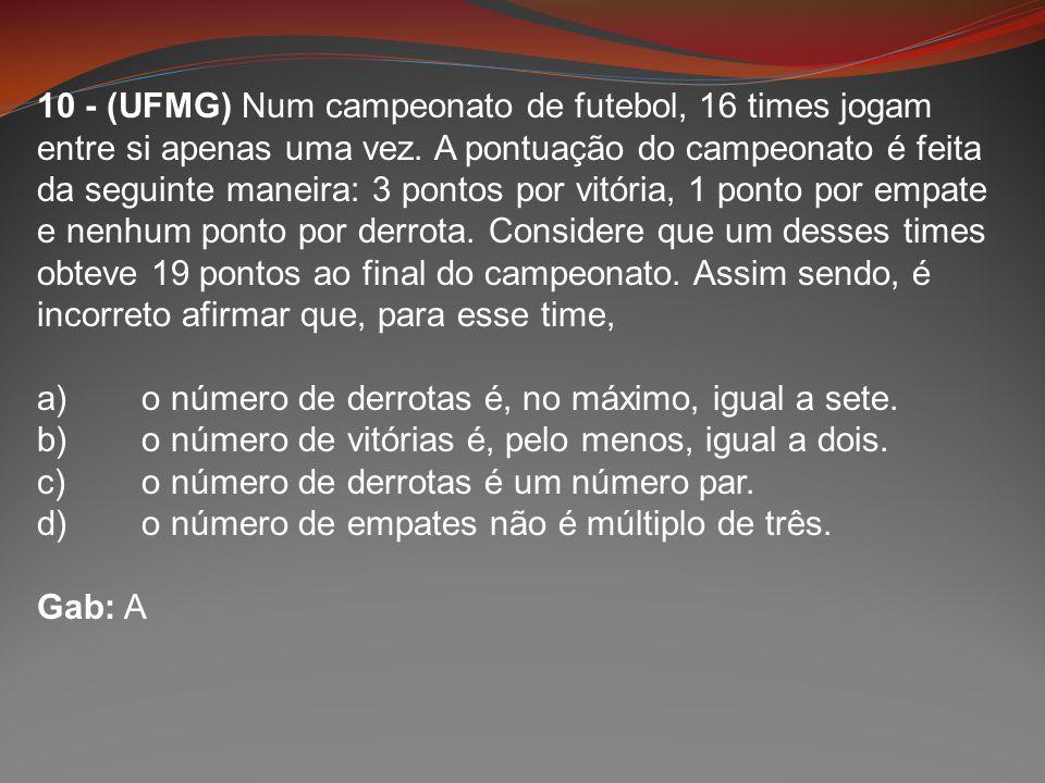 10 - (UFMG) Num campeonato de futebol, 16 times jogam entre si apenas uma vez. A pontuação do campeonato é feita da seguinte maneira: 3 pontos por vit