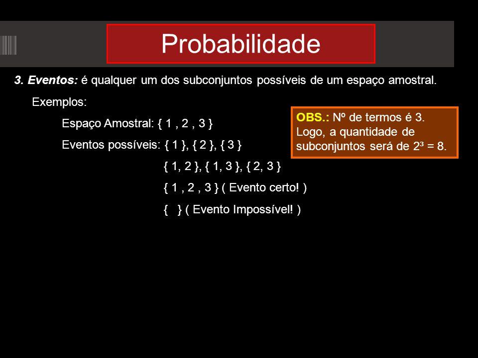 Probabilidade 3. Eventos: é qualquer um dos subconjuntos possíveis de um espaço amostral. Exemplos: Espaço Amostral: { 1, 2, 3 } Eventos possíveis: {