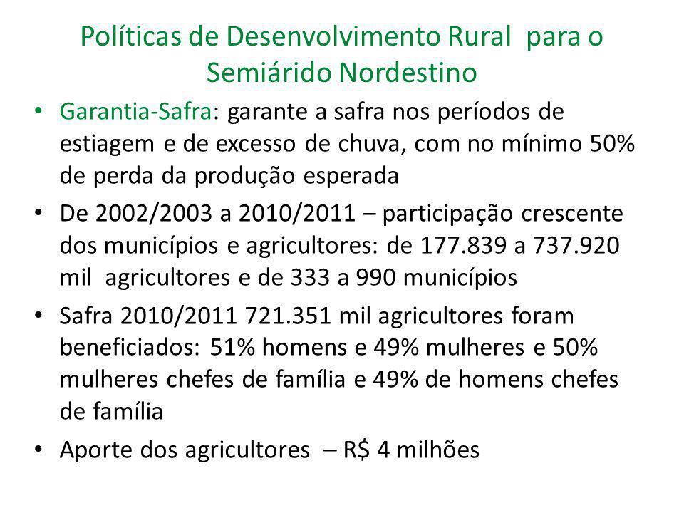 Políticas de Desenvolvimento Rural para o Semiárido Nordestino Garantia-Safra: garante a safra nos períodos de estiagem e de excesso de chuva, com no