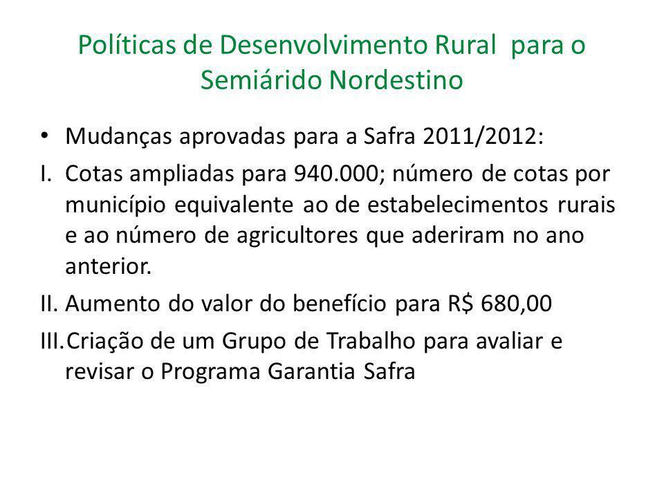 Políticas de Desenvolvimento Rural para o Semiárido Nordestino Mudanças aprovadas para a Safra 2011/2012: I.Cotas ampliadas para 940.000; número de co