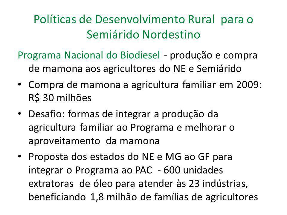 Políticas de Desenvolvimento Rural para o Semiárido Nordestino Programa Nacional do Biodiesel - produção e compra de mamona aos agricultores do NE e S