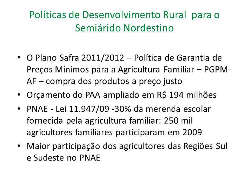 Políticas de Desenvolvimento Rural para o Semiárido Nordestino O Plano Safra 2011/2012 – Política de Garantia de Preços Mínimos para a Agricultura Fam