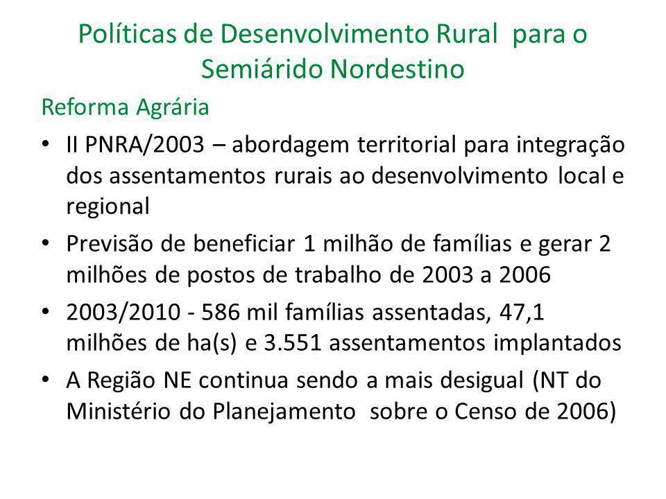 Políticas de Desenvolvimento Rural para o Semiárido Nordestino Reforma Agrária II PNRA/2003 – abordagem territorial para integração dos assentamentos