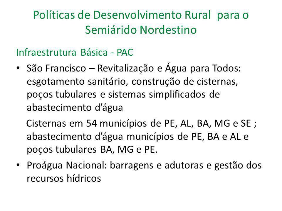 Políticas de Desenvolvimento Rural para o Semiárido Nordestino Infraestrutura Básica - PAC São Francisco – Revitalização e Água para Todos: esgotament